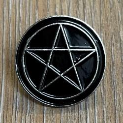 Brosche - Pin - Pentagramm - rund - schwarz/ silber