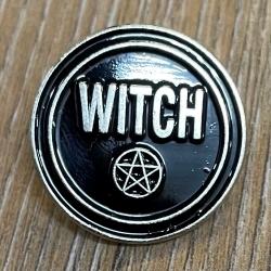 Brosche - Pin - Witch/ Hexe Pentagramm - rund - schwarz/ silber