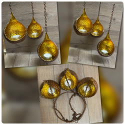 Kerzenhalter - Sundrop - Windlicht - Nr. 03 - kupfer/ gold - 3er Set hängend - Mobile - Ausverkauf
