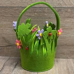 Filzkorb - Osterkörbchen - Blumen mit Henkel - Ostern - Ostara - Ausverkauf