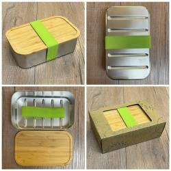 To-Go - Eco Lunchbox Edelstahl mit Bambusdeckel & Gummiband - 1100ml - Sammelbestellung möglich