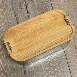 To-Go - Eco Click Lunchbox Weißblech mit Buchenholzdeckel - 750ml - Sammelbestellung möglich - Sonderpreis