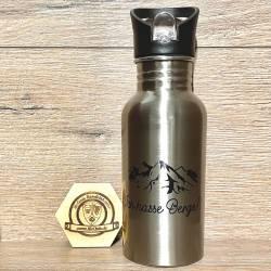 To-Go - Trinkflasche - Wunschmotiv - Edelstahl mit Strohhalm 500ml - silber