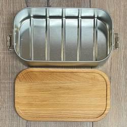 To-Go - Eco Click Lunchbox Weißblech mit Buchenholzdeckel - 750ml - mit Wunschmotiv gelasert