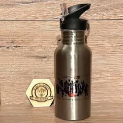 To-Go - Trinkflasche - LARP ist BUNT - Edelstahl mit Strohhalm 500ml - silber