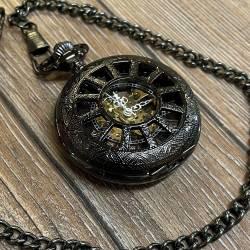 Uhr - mechanische Taschenuhr Steampunk schwarz rund und Kette