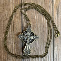 Uhr - Taschenuhr - Größe S - Kreuz mit Ikone - altmessing - Quartz - Steampunk