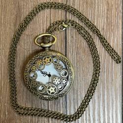 Uhr - Taschenuhr - Größe L - Zahnräder - altmessing - Quartz - Steampunk