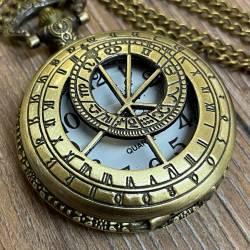 Uhr - Taschenuhr - Größe L - Sternzeichen - altmessing - Quartz - Steampunk