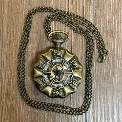 Uhr - Taschenuhr - Größe L - Orden - altmessing - Quartz - Steampunk