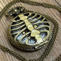 Uhr - Taschenuhr - Größe L - Skelett - altmessing - Quartz - Steampunk