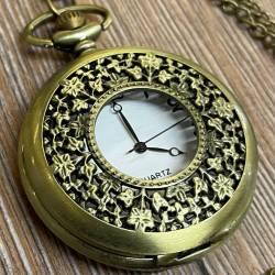 Uhr - Taschenuhr - Größe L - Blumen - altmessing - Quartz - Steampunk