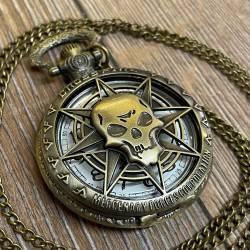 Uhr - Taschenuhr - Größe L - CrossFire - Totenschädel - altmessing - Quartz - Steampunk