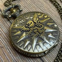 Uhr - Taschenuhr - Größe L - GOT - Lannister - Löwe - altmessing - Quartz - Steampunk