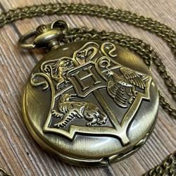 Uhr - Taschenuhr - Größe L - HP - Hogwarts Wappen - altmessing - Quartz - Steampunk