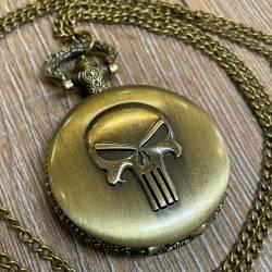 Uhr - Taschenuhr - Größe L - Punisher - Totenschädel - altmessing - Quartz - Steampunk