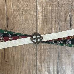 Handfasting Band - 19mm - 4x Triskele & keltisches Kreuz altmessing