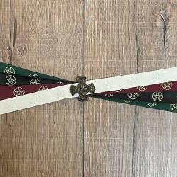 Handfasting Band - 19mm - 4x Pentagramm & Kreuz Fleur de Lys altmessing