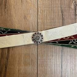 Handfasting Band - 33mm - 3x Goddess & 1x God&Goddess Pentagramm & Sternenkreis mit roten Steinen altsilber