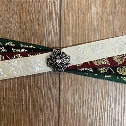 Handfasting Band - 19mm - 4x Blätter & Celtic Star altsilber