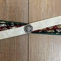 Handfasting Band - 19mm - 4x Blätter & Kreuz der Kelten altsilber