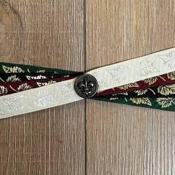 Handfasting Band - 19mm - 4x Blätter & franz. Lilie altmessing