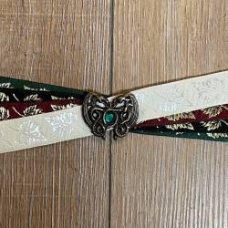 Handfasting Band - 19mm - 4x Blätter & Dragonheart altmessing mit grünem Kristall