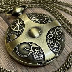 Uhr - Taschenuhr - Größe L - Kreuz & Zahnräder - altmessing - Quartz - Steampunk