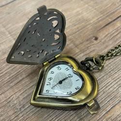 Uhr - Taschenuhr - Größe M - Herz zum Aufklappen - altmessing - Quartz - Steampunk