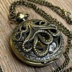 Uhr - Taschenuhr - Größe L - Oktopus/ Cthulhu - altmessing - Quartz - Steampunk