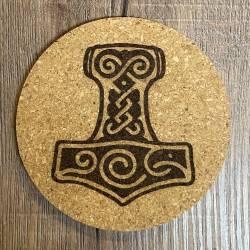 Untersetzer - Kork - Thors Hammer gelasert - 10cm - Coaster - Dekoration - Made by McOnis