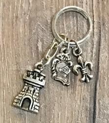 Schlüsselanhänger - Turm und Ritterhelm