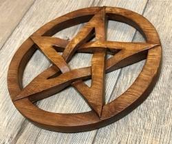 Plaque - Wandschmuck - Echtholz - Pentakel (Pentagramm im Kreis) - klein