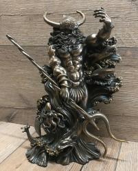 Statue - Aegir - nordischer Gott des Meeres & des Biers - bronziert - Dekoration - Ritualbedarf