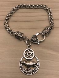 Armband - Rabe im Halbmond & Pentagramm/ Raven Crescent Moon - Wicca - OBOD - ADF - Druiden - Kelten - Hexen