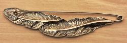 Brosche - Kiltnadel Feder 9cm - silber