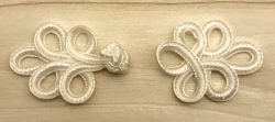 Schließe Posamenten Knebel Ornament - Frog Verschluss/ Closures - weiss