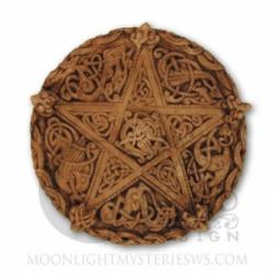 Plaque - Wandtafel - Keltisches Knoten Pentakel klein - Knotwork pentacle small - Holzoptik