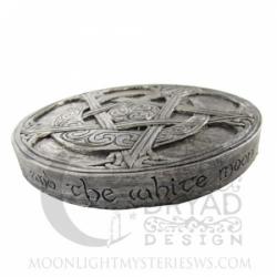 Plaque - Wandtafel - Wandschmuck - Mond Pentakel klein - Moon Pentacle - Silverfinish - silberfarben