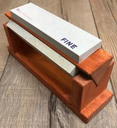 Messer Zubehör - Schleifstein - Herbertz Holzblock mit 3 Abziehsteinen inkl. Schärföl