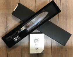 YAXELL Küchenmesser - ZEN Serie - Santoku Messer - Damast 37 Lagen - Griff aus Leinenmicarta in Holzoptik