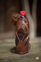 Leder - Wasserflaschenhalter für  PET Flasche 0,5l -  braun