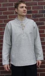 Hemd LC - Stehkragen mit Schnürung, schwere Qualität, gerader Schnitt - unisex