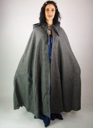 Mantel LC - 6013 Wollumhang mit langer Kapuze und handgefertigter Stickerei