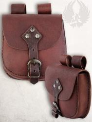 Tasche - Leder - Gürteltasche mit Schnalle - braun