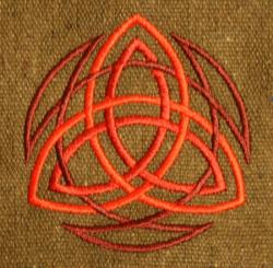Umhänge- Tasche braun - Trinity/ Triquetra - rot