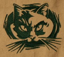 Umhänge- Tasche natur - Katzen-Kopf/ Felidae - grün
