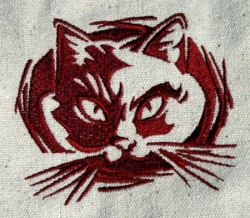 Umhänge- Tasche natur - Katzen-Kopf/ Felidae - rot