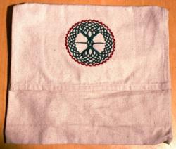 Umhänge- Tasche natur - keltischer Lebensbaum - grün/ rot