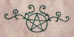 Umhänge- Tasche natur - Pentagramm/ Pentakel Ranke - grün